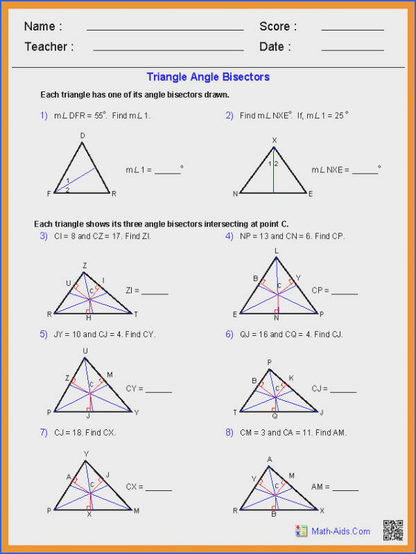 triangle sum theorem worksheetiangle angle bisectors