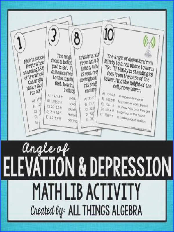 Angle of Elevation and Depression Math LibIn this activity students will generate pieces to a