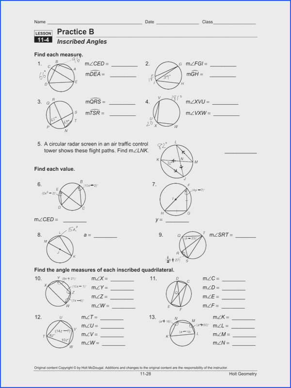 Angles In A Circle Worksheet Worksheets for All Image Below Central Angles and Inscribed Angles Worksheet Answer Key