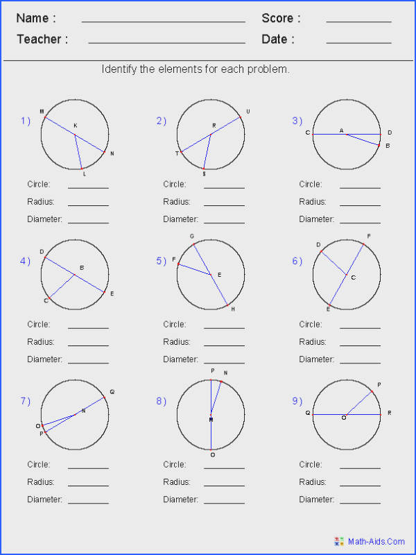 Angles In Circles Worksheets
