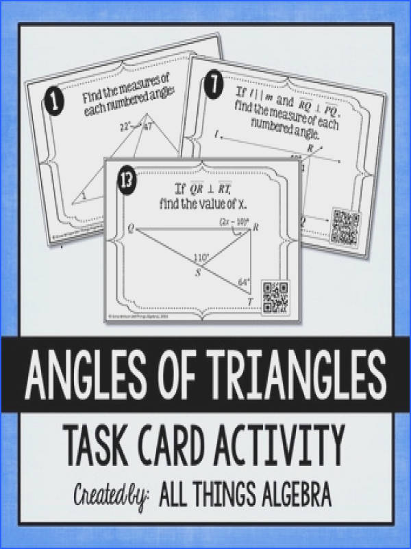 Angles of Triangles Task Cards Triangle Sum Theorem Exterior Angle Theorem