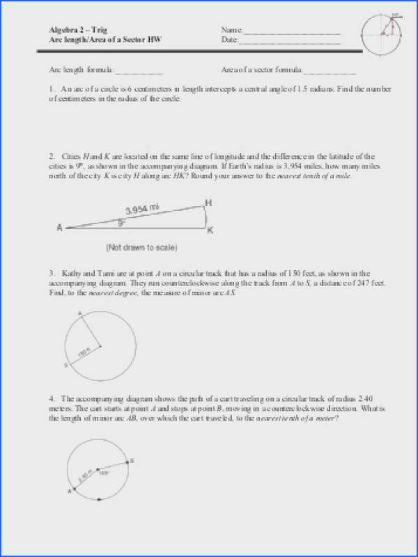 Arc length Area of a Sector HW