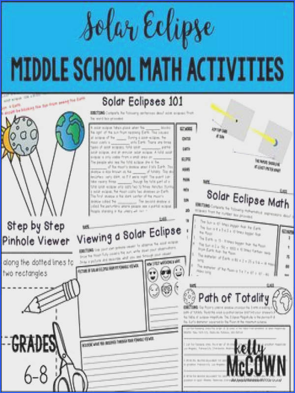 A Total Solar Eclipse will be visible for a large part of the United States This Solar Eclipse Middle School NO PREP Math Activities is