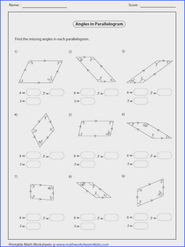 properties of parallelograms worksheet parallelogram properties worksheet free worksheets library