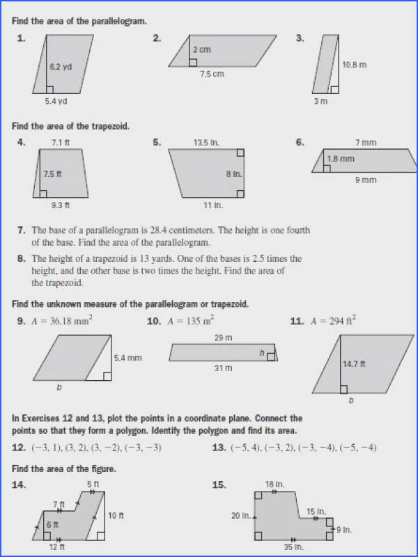 Area of Parallelograms & Trapezoids