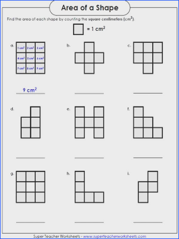 Area Worksheet Counting Squares