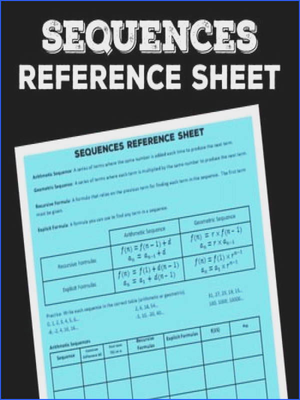 Arithmetic and Geometric Sequences Worksheet | Mychaume.com