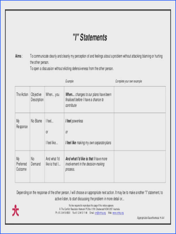 Image Result For Using I Statements Worksheet Assertiveness