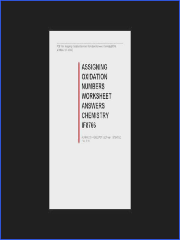 Assigning Oxidation Numbers Worksheet Answers Chemistry If8766