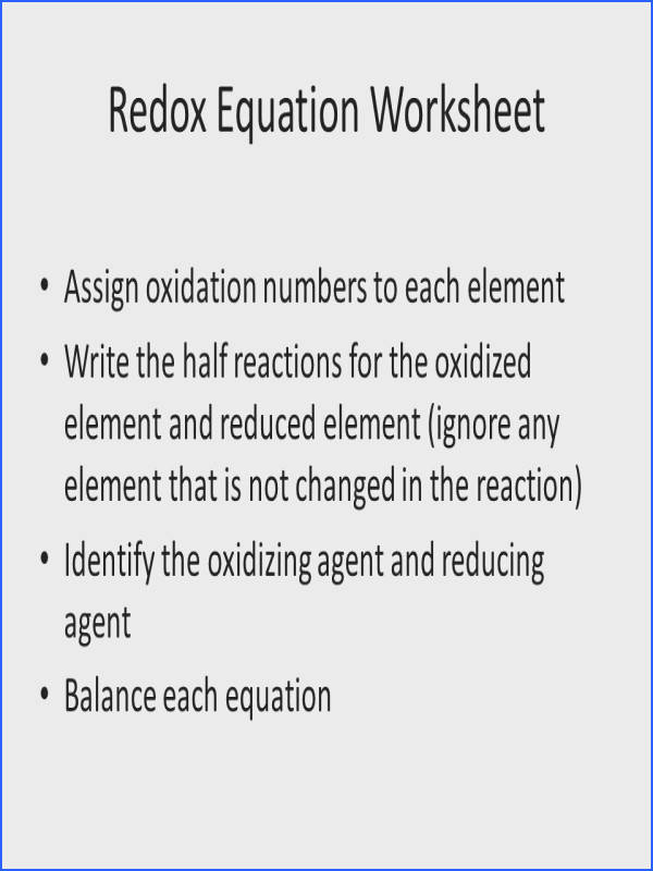 39 Redox Equation Worksheet Assign oxidation numbers
