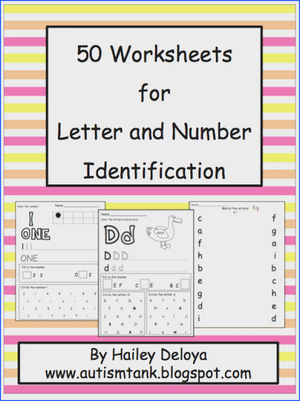 This packet consists of 50 worksheets aimed at teaching children number and letter identification Worksheets Each of these worksheets covers