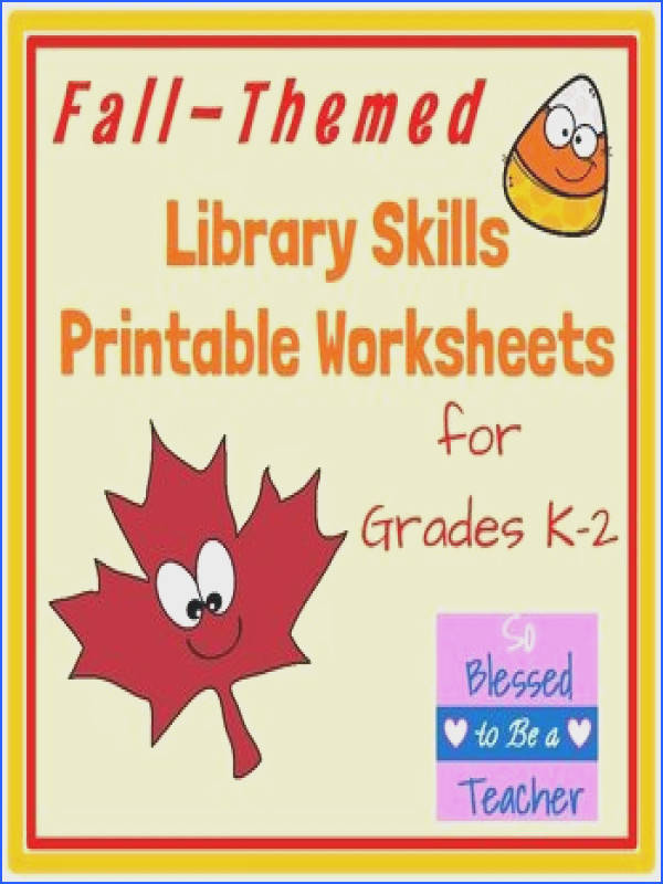 Autumn Fall Themed Library Skills Printable Worksheets for Grades K 2