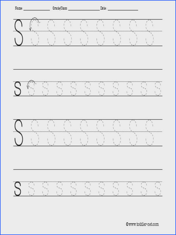 Awesome Collection of Letter S Tracing Worksheets Preschool With Free