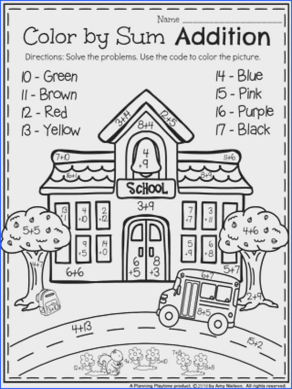 First Grade Worksheets for Back to School Color by Sum Addition Worksheet