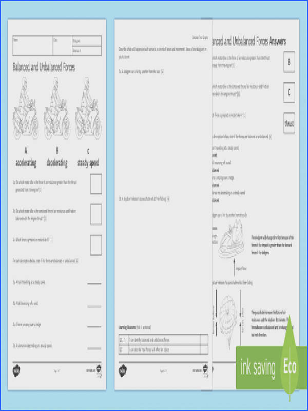 Balanced and Unbalanced Forces Homework Activity Sheet Homework forces balanced unbalanced steady speed direction speed worksheet