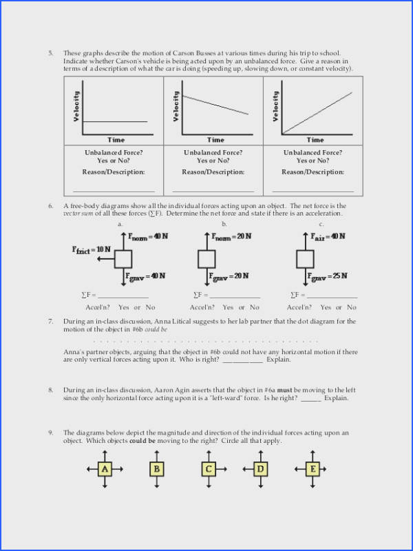 Balanced and Unbalanced forces Worksheet & Print forces Balanced Image Below Net force Worksheet Answers