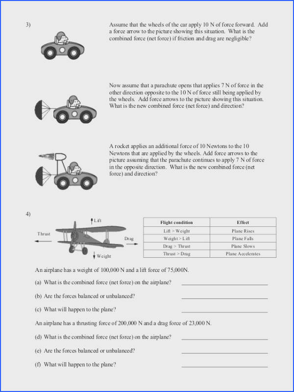 Balanced and Unbalanced forces Worksheet Lesupercoin Printables Image Below Net force Worksheet