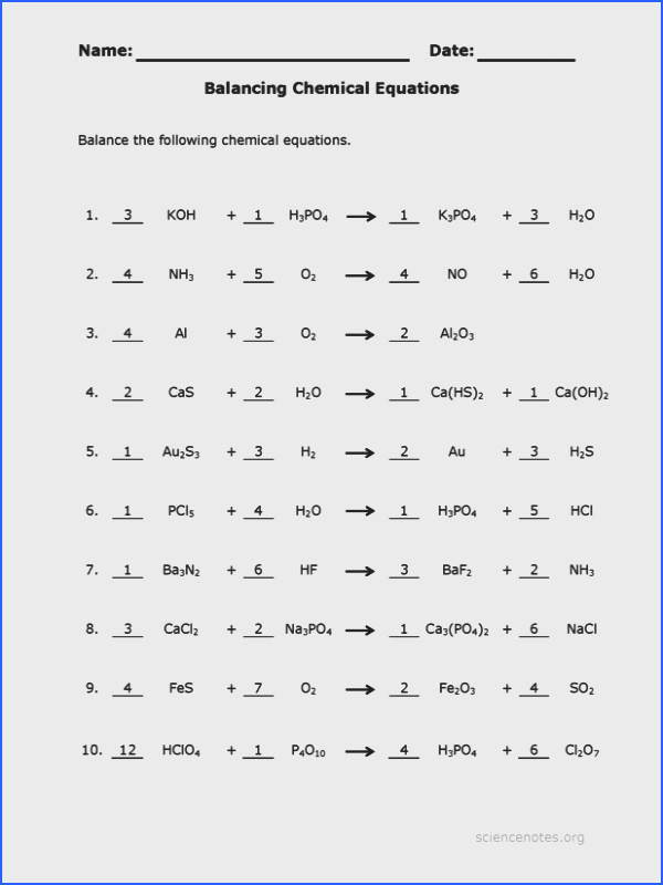 worksheets balancing equation practice sheet answer sheet Balancing SMLF