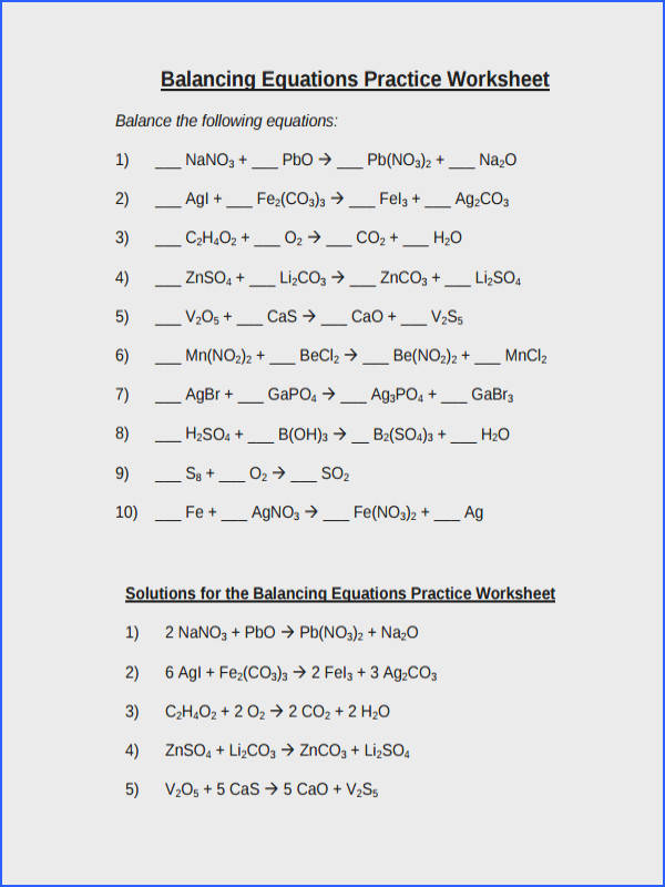 Balancing Chemical Equations Practice Worksheet With Answers