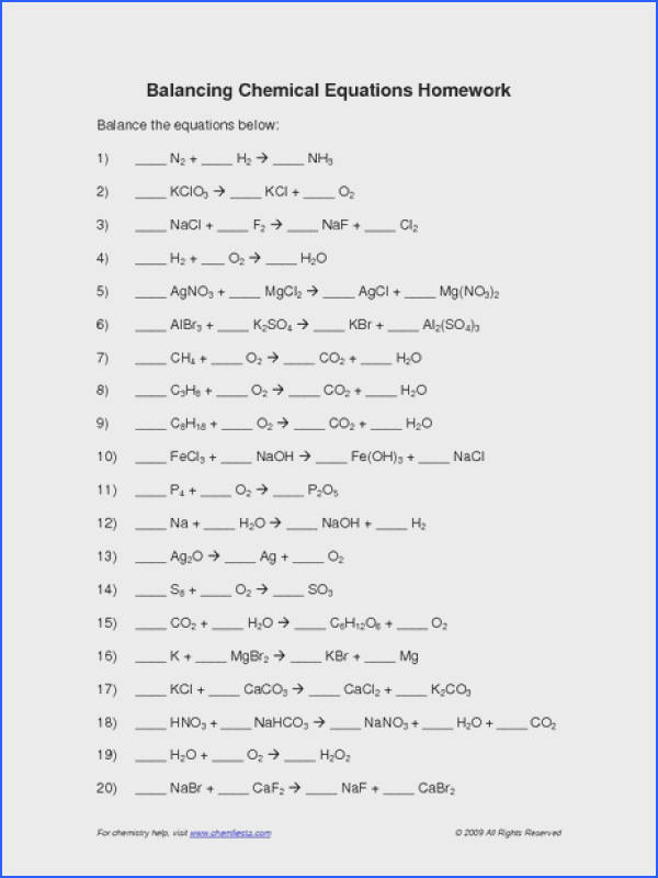 Balancing Chemical Equations Practice Worksheet with Answers Image Below Balancing Equations Practice Worksheet