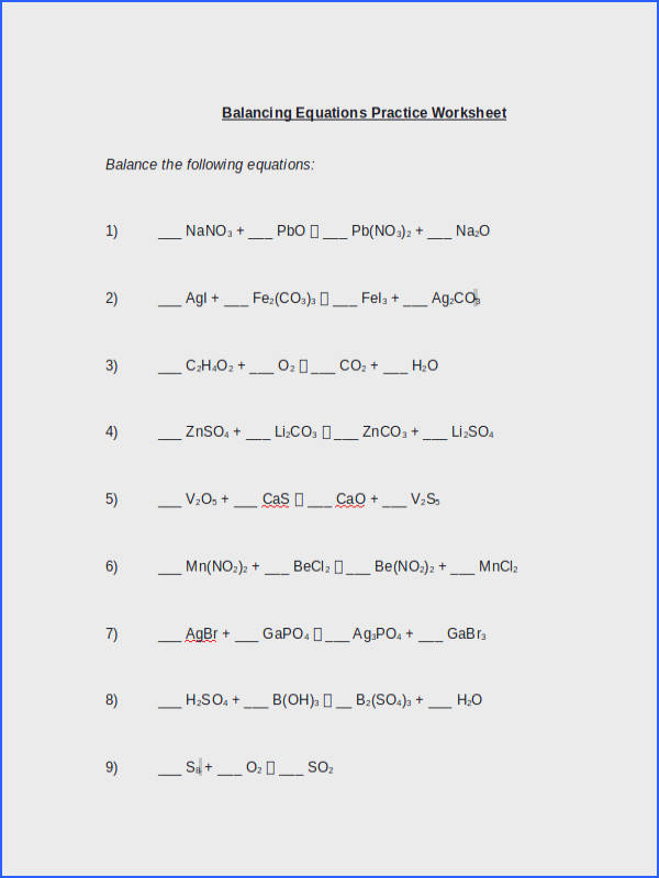 Balancing Chemical Equations Test Tessshlo