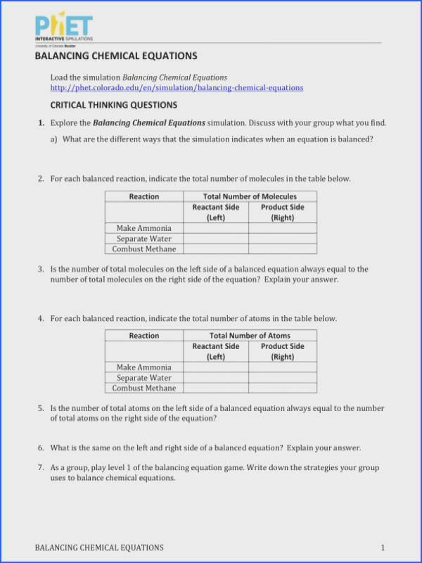 Balancing Chemical Equations Worksheet Source · Phet Balancing Chemical Equations Worksheet Answers
