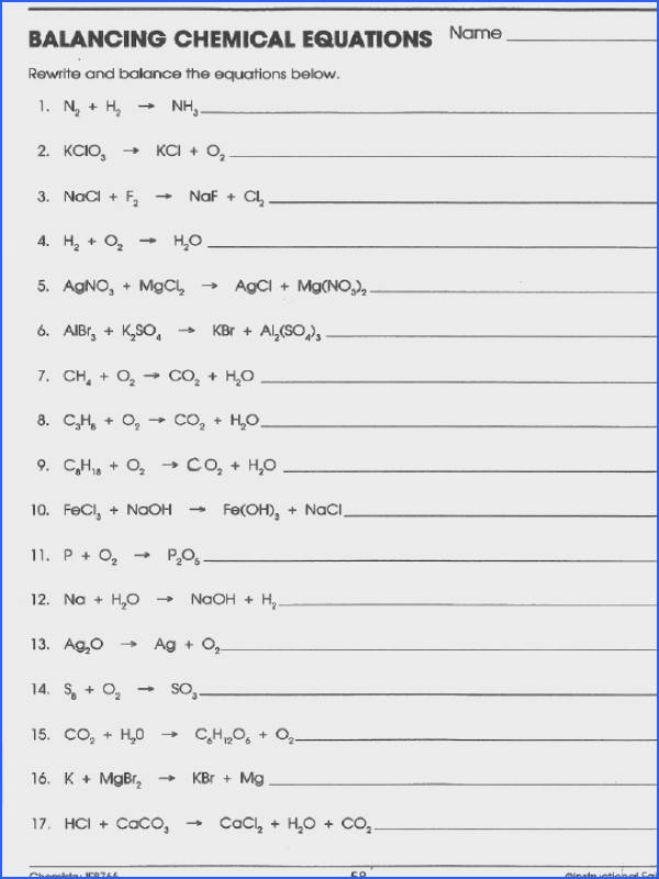 Balancing Chemical Equations Practice Worksheet Middle School