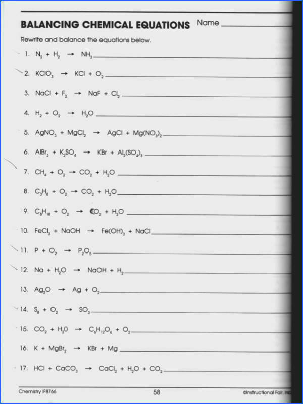 Balancing Chemical Equations Worksheet Answer Key Chemistry If8766