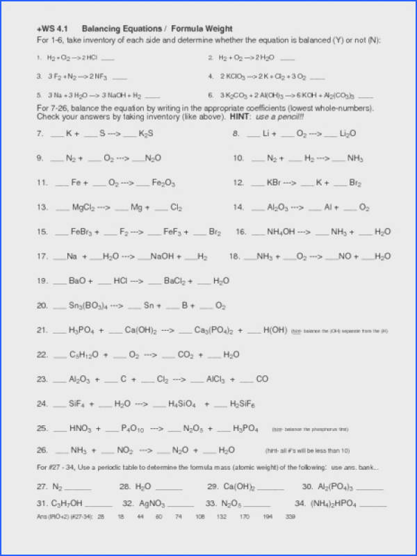Balancing Chemical Equations Worksheet Middle School Free