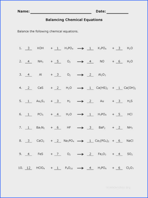 Balancing Equations Practice Worksheet Worksheets For All