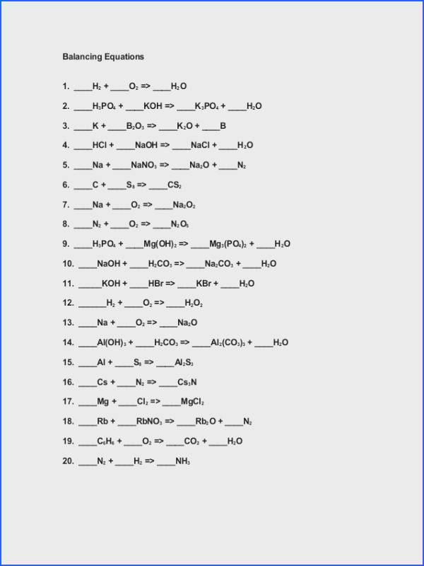 Balancing Equations Worksheet 1 Answers Worksheets for all Download and Worksheets
