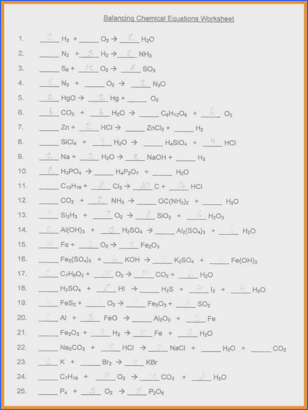 Balancing Equations Worksheet 1 Answers Worksheets for All Image Below Balancing Equations Worksheet Answers