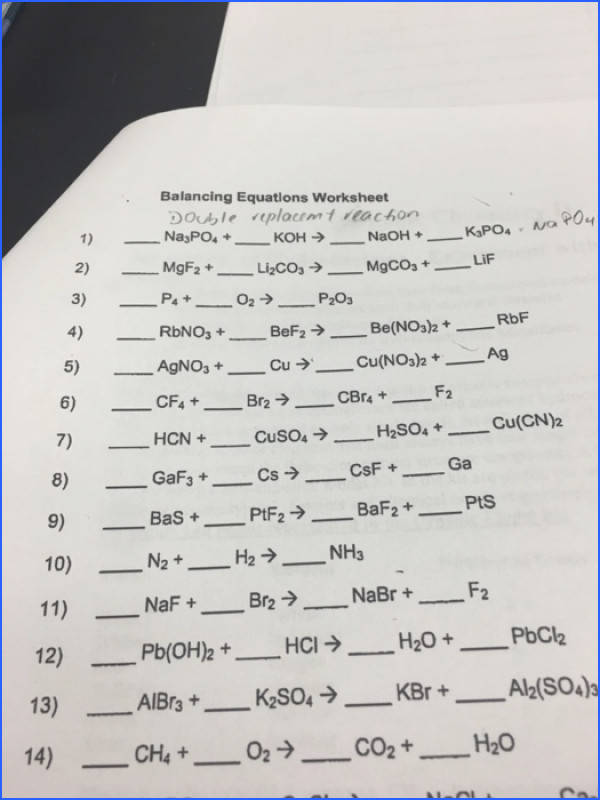 Captivating Balancing Equations Worksheet Chemistry 1 Also Balancing Equations Worksheet Na 3po 4 of Balancing