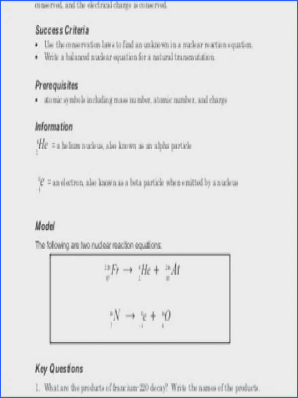 Balancing Nuclear Equations Worksheet Answers Worksheets Nuclear