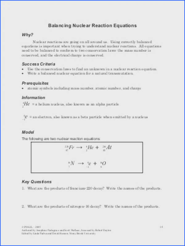 Nuclear Reactions Worksheet Free Worksheets Library