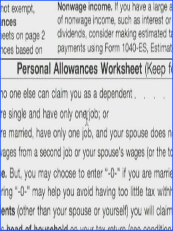 Basic Explanation of W 4 tax Form Personal Allowance Worksheet A thru D W 4 Tax Form