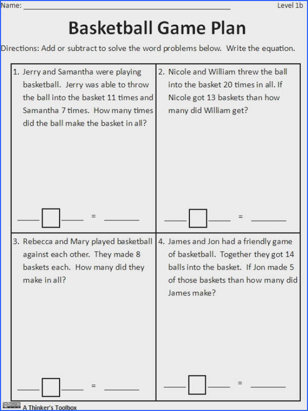 Basketball Math Madness by A Thinker s Toolbox worksheets printables