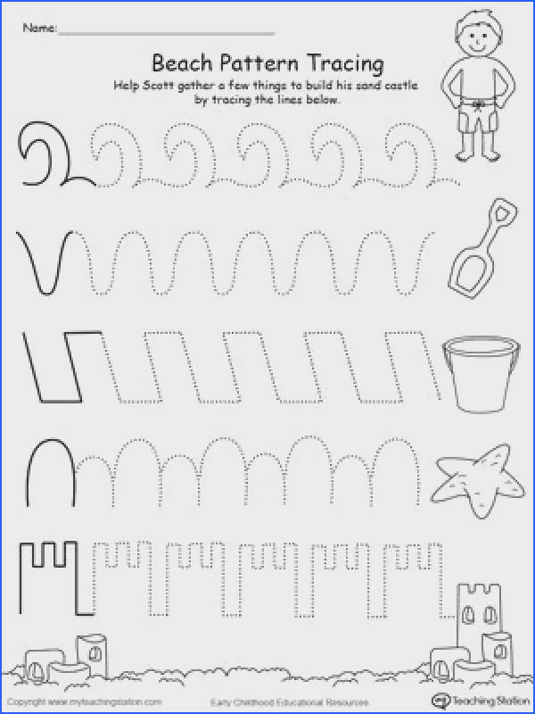 FREE Beach Line Pattern Tracing Worksheet Help your preschooler practice tracing
