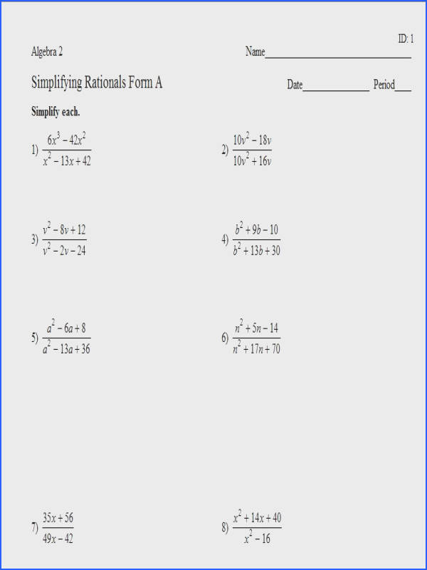 Simplify Algebraic Expressions Worksheet Answers Worksheets for
