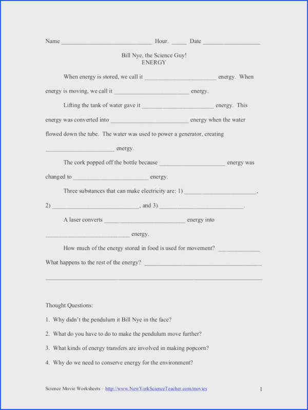 Endearing Bill Nye The Science Guy Static Electricity Worksheet With Bill Nye Energy Video Worksheet