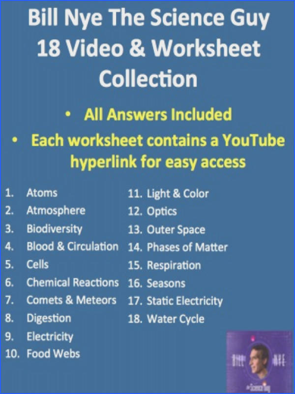 Bill Nye Video Worksheets plete 20 Video Worksheet Collection by TeachWithFergy Teaching Resources Tes