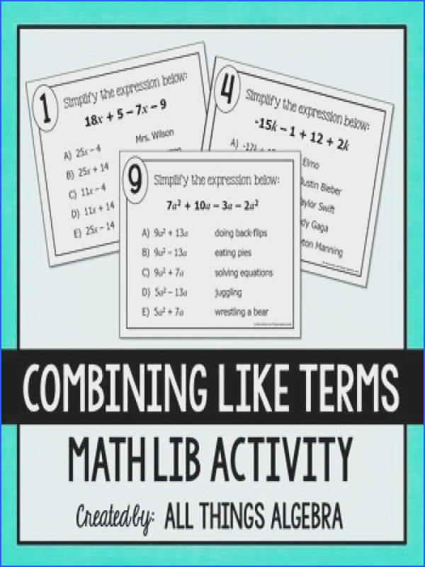bining Like Terms Math Lib