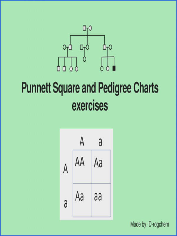 Biology punnett square problems and interpretation of pedigree charts by Drogchem Teaching Resources Tes