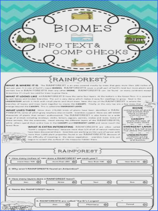 BIOMES Informational Text Reading Passages prehension Questions