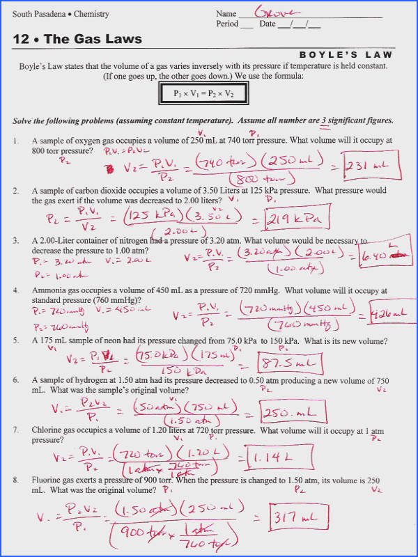 Boyles and Charles Law Worksheet Worksheets for All Image Below Gas Laws Worksheet Answers