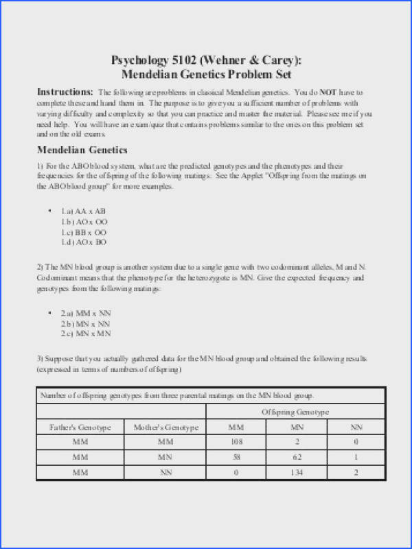 Psyc 5102 Problem Set on Mendelian Genetics Institute for