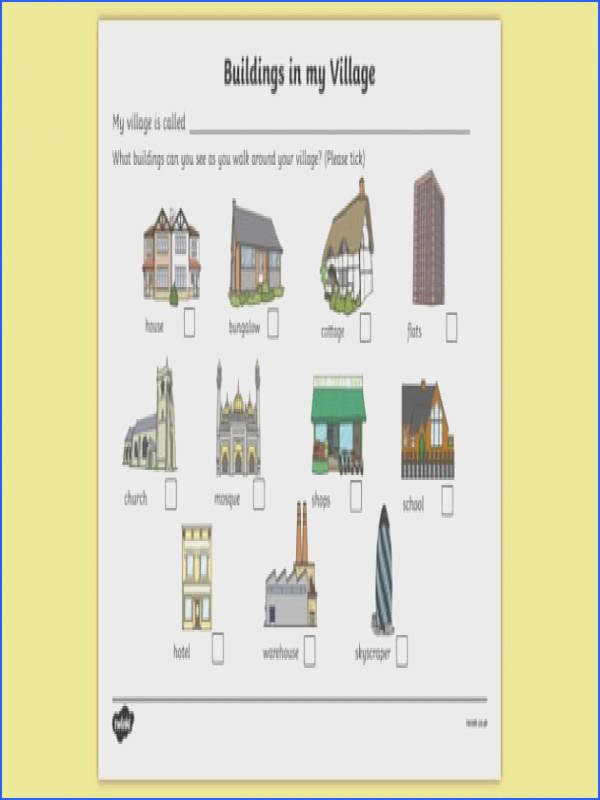 Buildings In My Village Worksheet houses and homes house home building