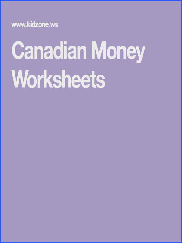 Canadian Money Worksheets