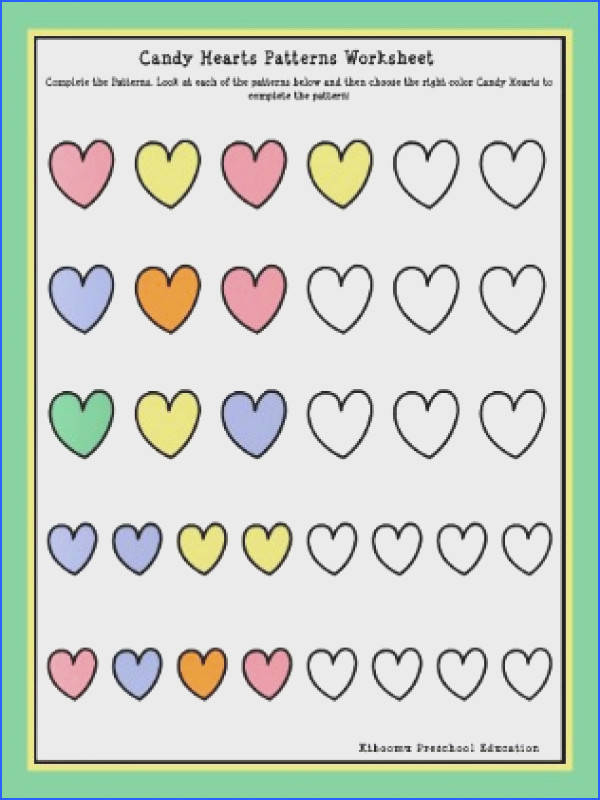 Candy Hearts Patterning Worksheet For Kids