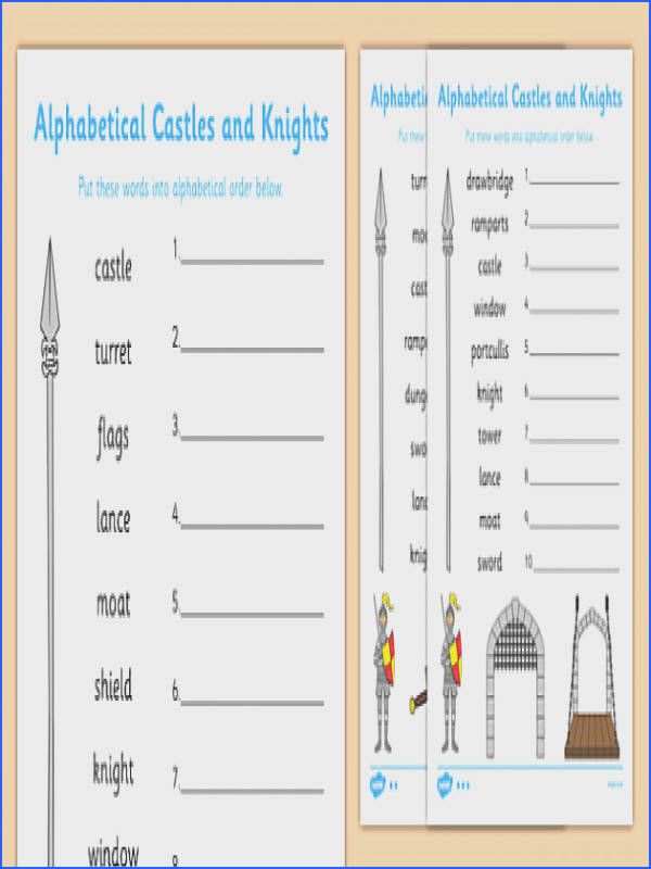 Castles and Knights Alphabet Ordering Differentiated Worksheet Activity Sheet Pack worksheet